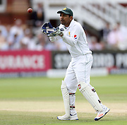 Pakistan wicket keeper Sarfraz Ahmed in action during the first Investec Test Match against England at Lord's Cricket Ground, London. Photo: Graham Morris/www.cricketpix.com (Tel:+44(0)20 8969 4192; Email: graham@cricketpix.com) 17/07/2016