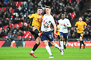 Tottenham Hotspur Midfielder Harry Winks (29) and Newport County Forward Padraig Amond (9) battle for the ball during the The FA Cup 4th round replay match between Tottenham Hotspur and Newport County at Wembley Stadium, London, England on 7 February 2018. Picture by Stephen Wright.