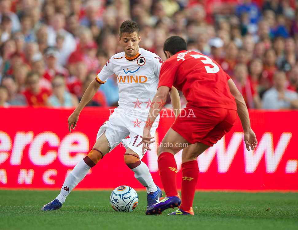 BOSTON, MA - Wednesday, July 25, 2012: AS Roma's Leandro Castan da Silva in action against Liverpool during a pre-season friendly match at Fenway Park, home of the Boston Red Sox, the second match of the Reds' North American tour. (Pic by David Rawcliffe/Propaganda)