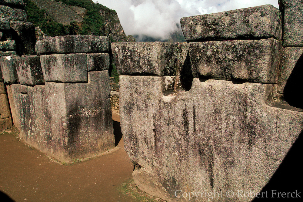 PERU, PREHISPANIC, INCA Machu Picchu; Sacristy stonework