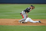Ole Miss' Blake Newalu (6) steals second as vs. Lipscomb's T.J. Hoelzer (2) at Oxford-University Stadium in Oxford, Miss. on Sunday, March 13, 2011. Ole Miss won 5-1 to sweep the series and improve to 13-4.