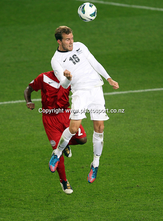 Jeremy Brockie of New Zealand heads the ball towards goal.<br /> 2014 FIFA World Cup Brazil&trade; Oceania Qualifier - New Zealand v New Caledonia, 22 March 2013, Forsyth Barr Stadium, Dunedin, New Zealand.<br /> Photo: Rob Jefferies / photosport.co.nz