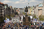 About 100,000 people joined an anti-government protest march through the centre of Prague on Saturday against the governments reforms of Prime Minister Petr Necas.