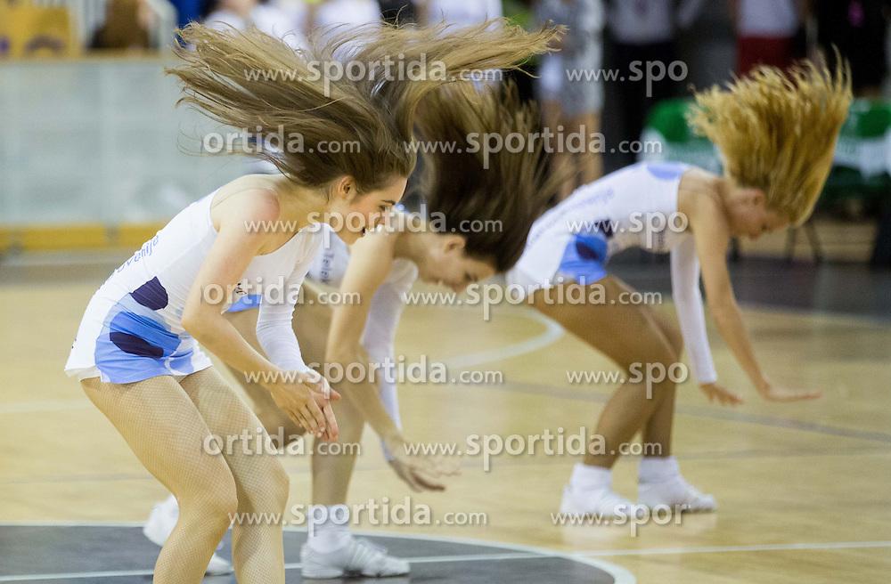 Cheerleaders Zmajcice perform during basketball match between KK Union Olimpija and  KK Krka in 2nd Final match of Telemach League - Slovenian Championship 2013/14 on May 24, 2014 in Hala Tivoli, Ljubljana, Slovenia. Photo by Vid Ponikvar / Sportida