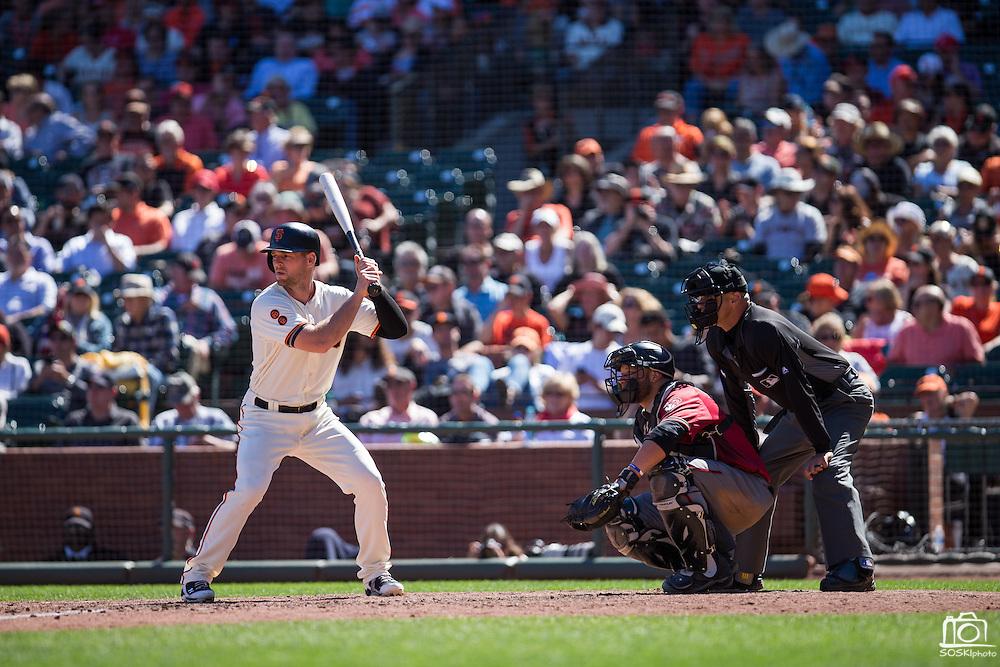 San Francisco Giants third baseman Conor Gillaspie (21) at bat against the Arizona Diamondbacks at AT&T Park in San Francisco, Calif., on August 31, 2016. (Stan Olszewski/Special to S.F. Examiner)