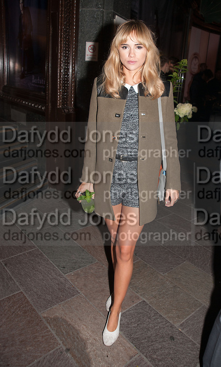 SUKI WATERHOUSE, Dinner to celebrate the opening of the first Berluti lifestyle store hosted by Antoine Arnault and Marigay Mckee. Harrods. London. 5 September 2012.