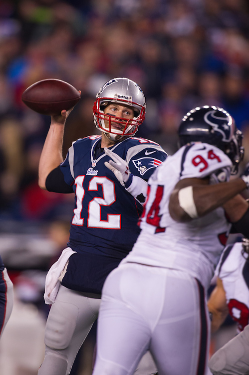 FOXBORO, MA - JANUARY 13:  Quarterback Tom Brady #12 of the New England Patriots passes during the AFC Divisional Playoff against the Houston Texans at Gillette Stadium on January 13, 2013 in Foxboro, Massachusetts.(Photo by Rob Tringali) *** Local Caption *** Tom Brady