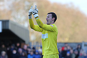 Artur Krysiak (goalkeeper) Yeovil Town FC commands his wall during the Sky Bet League 2 match between AFC Wimbledon and Yeovil Town at the Cherry Red Records Stadium, Kingston, England on 30 January 2016. Photo by Stuart Butcher.