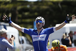 January 18, 2018 - Glenelg, AUSTRALIA - Italian Elia Viviani of Team Quick-Step Floors celebrates on the finish line of stage 3 of the Tour Down Under cycling race, 120,5km from Glenelg to Victor Harbor, Thursday 18 January 2018 in Australia. The stage is shortened because of the extreme temperatures that are expected in Western Australia on Thursday. This years edition of the race is taking place from January 16th to January 21st...BELGA PHOTO YUZURU SUNADA. (Credit Image: © Yuzuru Sunada/Belga via ZUMA Press)