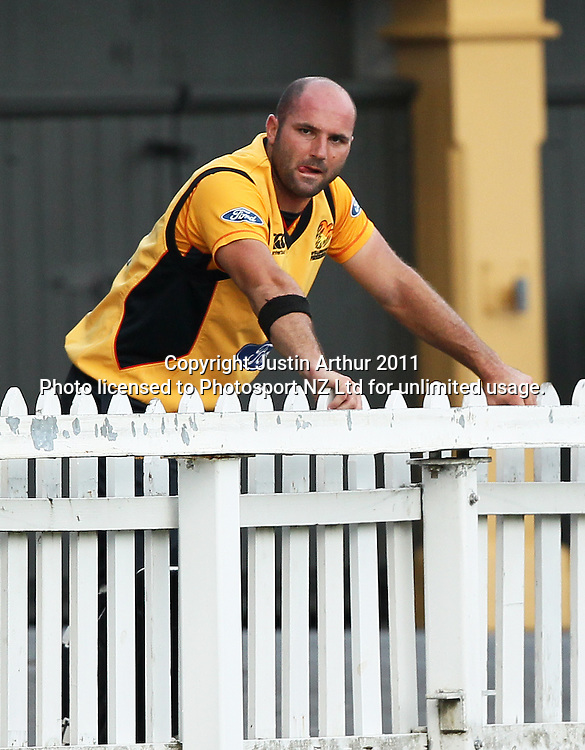Luke woodcock after being dismissed. Ford Trophy - Wellington Firebirds v Canterbury Wizards, Hawkins Basin Reserve, Wellington, New Zealand on Thursday 26 January 2012. Photo: Justin Arthur / Photosport.co.nz