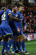 George Francomb of AFC Wimbledon scores and celebrates during the Sky Bet League 2 match between AFC Wimbledon and Stevenage at the Cherry Red Records Stadium, Kingston, England on 12 December 2015. Photo by Stuart Butcher.
