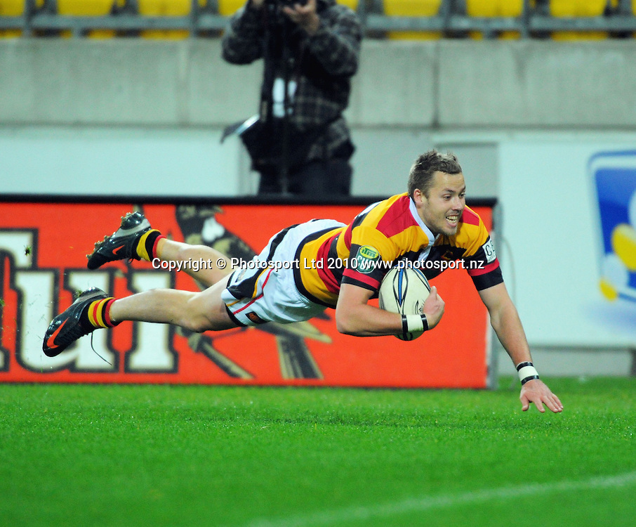 Waikato's Tim Mikkelson scores, but the try was disallowed as he had stepped into touch. ITM Cup rugby union - Wellington Lions v Waikato at Westpac Stadium, Wellington, New Zealand on Saturday, 21 August 2010. Photo: Dave Lintott/PHOTOSPORT
