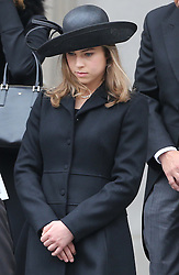 Baroness Thatcher's  granddaughter Amanda leaving  her grandmother's funeral at St.Paul's Cathedral in London , Wednesday 17th  April 2013 Photo by: Stephen Lock / i-Images