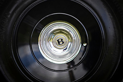 © Licensed to London News Pictures. 07/08/2016. Leeds UK. Picture shows the wheel hub of a 3.5 ltr 1934 Bentley Derby at the 37th Rolls Royce North rally that has taken place this weekend in the ground's of Harewood House in Yorkshire. The event bring's together some of the UK's most prized motor cars & their proud owners. Photo credit: Andrew McCaren/LNP