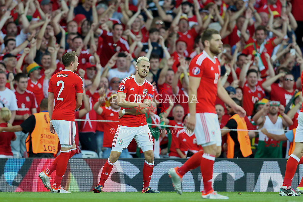 TOULOUSE, FRANCE - Monday, June 20, 2016: Wales' Aaron Ramsey celebrates scoring the first goal against Russia during the final Group B UEFA Euro 2016 Championship match at Stadium de Toulouse. (Pic by David Rawcliffe/Propaganda)