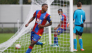 Aaron Bissaka wheels off after slotting home his goal during the Final Thirds Development League match between U21 Crystal Palace and U21 Watford at Selhurst Park, London, England on 24 August 2015. Photo by Michael Hulf.