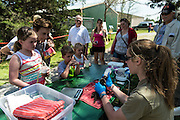 A wildcare volunteer feeds a baby racoon in front of open house visitors.