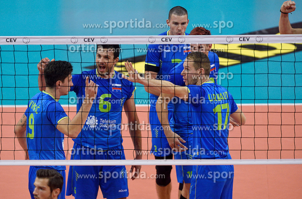 Tine Urnaut #17, Mitja Gasparini, Dejan Vincic during volleyball match between National teams of Netherlands and Slovenia in Playoff of 2015 CEV Volleyball European Championship - Men, on October 13, 2015 in Arena Armeec, Sofia, Bulgaria. Photo by Ronald Hoogendoorn / Sportida