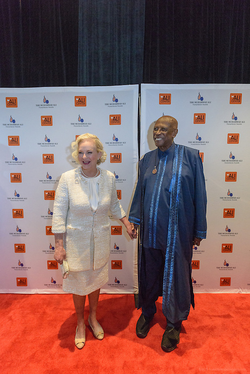 Philanthropist and businesswoman Cindy Hensley McCain with Academy Award-winning actor and humanitarian Louis Gossett Jr. on the red carpet at the fourth annual Muhammad Ali Humanitarian Awards Saturday, Sept. 17, 2016 at the Marriott Hotel in Louisville, Ky. (Photo by Brian Bohannon for the Muhammad Ali Center)