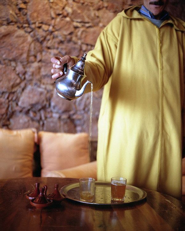 Pouring tea in the High Atlas Mountains, Morocco