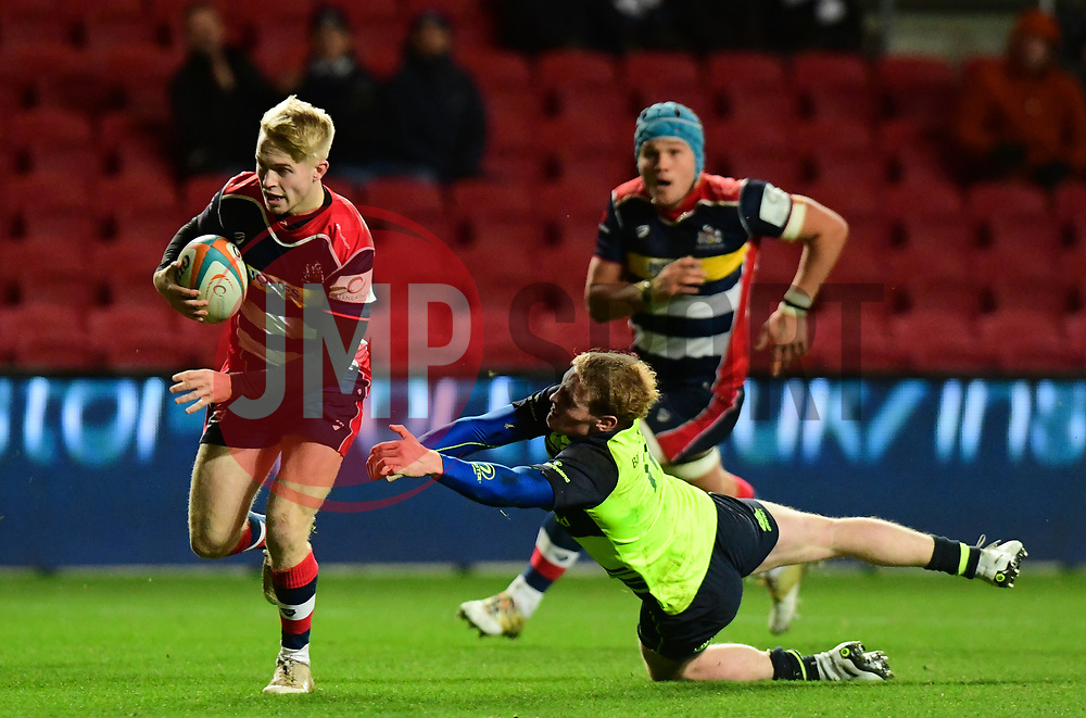 Mat Protheroe of Bristol Rugby makes a break to score  - Mandatory by-line: Alex Davidson/JMP - 08/12/2017 - RUGBY - Ashton Gate Stadium - Bristol, England - Bristol Rugby v Leinster 'A' - B&I Cup