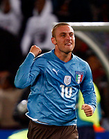 Daniele De Rossi of Italy and Roma celebrates his goal.  FIFA Confederations Cup South Africa 2009 <br /> United States of America  v Italy at Loftus Versfeld  Stadium Tshwane/Pretoria South Africa<br /> 15/06/2009 Credit Colorsport / Kieran Galvin