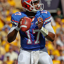October 8, 2011; Baton Rouge, LA, USA;  Florida Gators quarterback Jacoby Brissett (17) against the LSU Tigers during the first quarter at Tiger Stadium.  Mandatory Credit: Derick E. Hingle-US PRESSWIRE / © Derick E. Hingle 2011