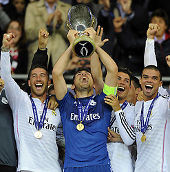 Real Madrid's Iker Casillas and team mates lift the Uefa Super Cup - Photo mandatory by-line: Joe Meredith/JMP - Mobile: 07966 386802 12/08/2014 - SPORT - FOOTBALL - Cardiff - Cardiff City Stadium - Real Madrid v Sevilla - UEFA Super Cup