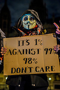 "The Million Mask March - anti-establishment protesters in V for Vendetta-inspired Guy Fawkes masks march from Trafalgar Square to Parliament Square. It was organised by Anonymous, the anarchic 'hacktivist' network. The movement is also closely identified with the Occupy protests, Wikileaks, and the Arab Spring. The UK Anonymous website describes the march on Parliament as a ""protest against austerity … the infringement of our rights … mass surveillance … war crimes … corrupt politicians."" 05 Nov 2016"