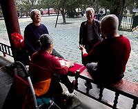 BEIJING, 20170406: Innovasjon Norge Beijing. Næringsminister Monica Mælands pressemøte på Temple of Heaven, om potensialet for norsk næringsliv og oppsummering av dagens møter så langt.  FOTO: TOM HANSEN