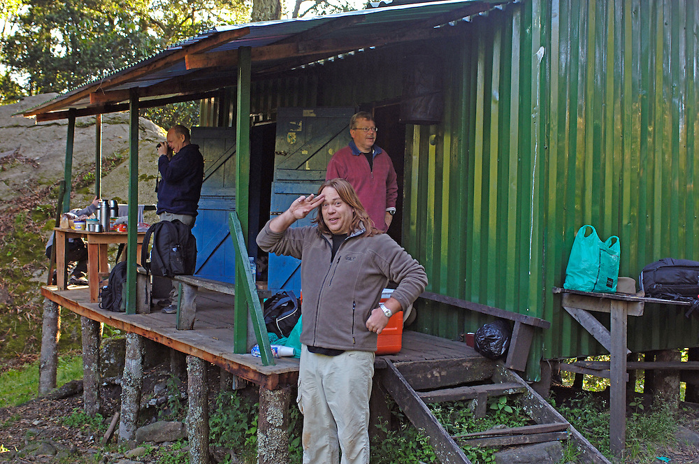 The 11 member team spent the night together in this impressive mountain lodge *cough* shed.