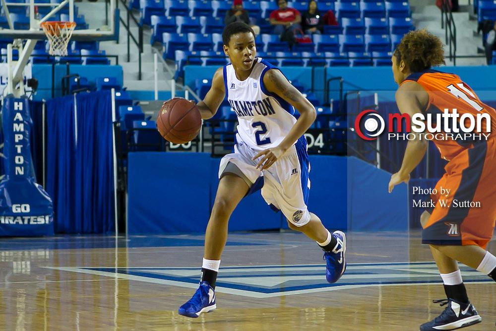 during the Hampton-Morgan MEAC women's basketball game at the Hampton Convocation Center in Hampton, Virginia.  Hampton won 68-60.  January 19, 2013  (Photo by Mark W. Sutton)