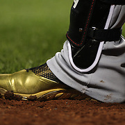 NEW YORK, NEW YORK - July 08: The golden footwear of Bryce Harper #34 of the Washington Nationals preparing to bat  during the Washington Nationals Vs New York Mets regular season MLB game at Citi Field on July 08, 2016 in New York City. (Photo by Tim Clayton/Corbis via Getty Images)