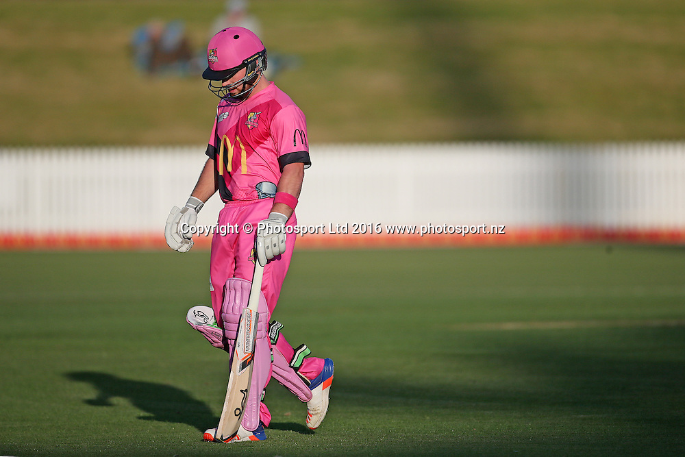 Knights' Tim Seifert departs during the McDonalds Super Smash T20 cricket match - Knights v Stags played at Seddon Park, Hamilton, New Zealand on Friday 23 December.<br /> <br /> Copyright photo: Bruce Lim / www.photosport.nz