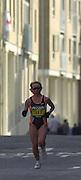 London Marathon, London, GREAT BRITAIN, location, Isle of Dogs. Race No. 00111 - ZINAID. SEMENOVA - RUS, Narrow Street. E1. © Peter Spurrier/Intersport Image/+447973819551