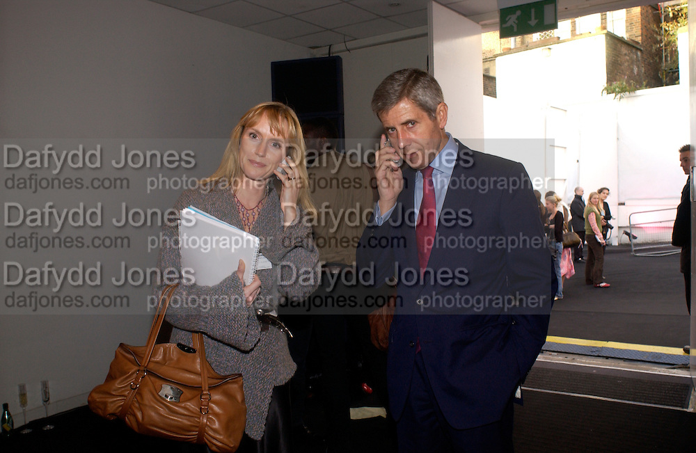 Tanya Hughes and Stuart Rose, Julian Macdonald fashion show. Old Saatchi Gallery, 22 September 2004. SUPPLIED FOR ONE-TIME USE ONLY-DO NOT ARCHIVE. © Copyright Photograph by Dafydd Jones 66 Stockwell Park Rd. London SW9 0DA Tel 020 7733 0108 www.dafjones.com