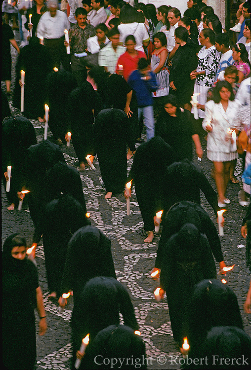 MEXICO, FESTIVALS, SEMANA SANTA Taxco, penitents in candlelit procession