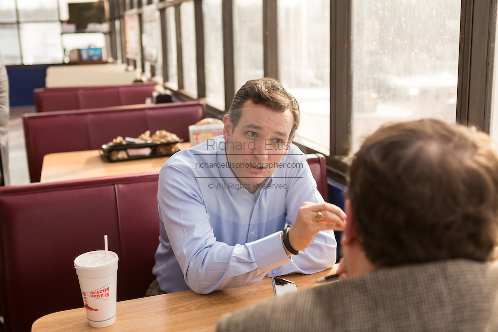 U.S. Senator Ted Cruz and GOP presidential candidate speaks to a supporter following a town hall meeting at the famous Beacon Drive-in restaurant before April 3, 2015 in Spartanburg, South Carolina.