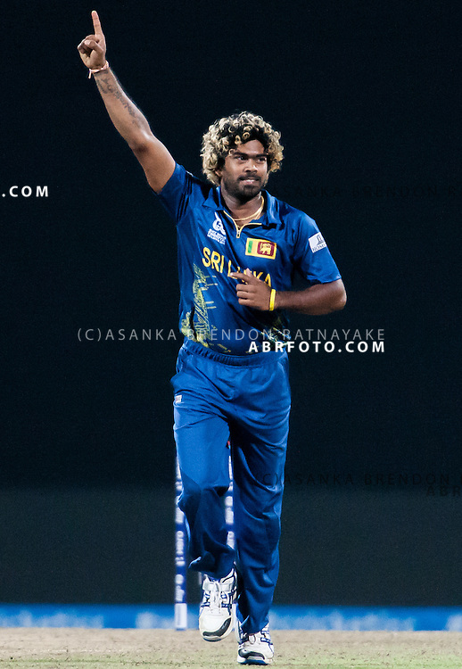 Lasith Malinga celebrates a wicket during the ICC world Twenty20 Cricket held in Sri Lanka.