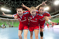 Cerna and Hrbkova of Czech Republic after handball match between Women National Teams of Slovenia and Czech Republic of 4th Round of EURO 2012 Qualifications, on March 25, 2012, in Arena Stozice, Ljubljana, Slovenia. (Photo by Urban Urbanc / Sportida.com)