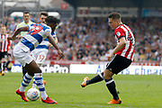 Brentford Forward Sergi Canos (47) has a shot on goal during the EFL Sky Bet Championship match between Brentford and Queens Park Rangers at Griffin Park, London, England on 21 April 2018. Picture by Andy Walter.