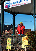 Bar Harbor, Maine, USA. 19 January, 2019. Cass Dowden addresses the crowd gathered on the Village Green for the Women's March Bar Harbor, a sister march of the national Women's March.