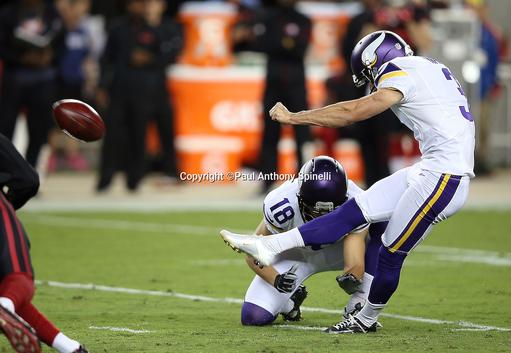 Minnesota Vikings holder and punter Jeff Locke (18) holds while Minnesota Vikings kicker Blair Walsh (3) attempts and misses a first quarter field goal during the 2015 NFL week 1 regular season football game against the San Francisco 49ers on Monday, Sept. 14, 2015 in Santa Clara, Calif. The 49ers won the game 20-3. (©Paul Anthony Spinelli)