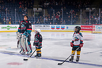KELOWNA, CANADA - DECEMBER 1: Pepsi Players of the Game line up with the Kelowna Rockets against the Saskatoon Blades  on December 1, 2018 at Prospera Place in Kelowna, British Columbia, Canada.  (Photo by Marissa Baecker/Shoot the Breeze)