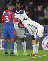 Football - 2018 / 2019 Premier League - Crystal Palace vs. Leicester City<br /> <br /> Patrick van Aanholt of Palace consoles Jamie Vardy at the final whistle, at Selhurst Park.<br /> <br /> COLORSPORT/ANDREW COWIE