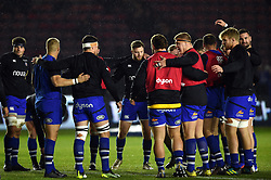 Bath Rugby players huddle together during the pre-match warm-up - Mandatory byline: Patrick Khachfe/JMP - 07966 386802 - 23/11/2019 - RUGBY UNION - The Twickenham Stoop - London, England - Harlequins v Bath Rugby - Heineken Champions Cup