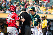 Oakland Athletics third baseman Matt Chapman (26) is ejected during a MLB game against the Los Angeles Angels at Oakland Coliseum in Oakland, California, on September 6, 2017. (Stan Olszewski/Special to S.F. Examiner)