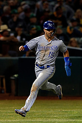 OAKLAND, CA - SEPTEMBER 16: Whit Merrifield #15 of the Kansas City Royals rounds third base to score a run against the Oakland Athletics during the ninth inning at the RingCentral Coliseum on September 16, 2019 in Oakland, California. The Kansas City Royals defeated the Oakland Athletics 6-5. (Photo by Jason O. Watson/Getty Images) *** Local Caption *** Whit Merrifield