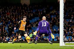 Andrew Robertson of Hull City scores a goal to make it 4-1 - Mandatory byline: Matt McNulty/JMP - 01/12/2015 - Football - Etihad Stadium - Manchester, England - Manchester City v Hull City - Capital One Cup - Quarter-final