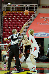 03 March 2013:  referee Randy Robertson tosses the tip off for Megan Grace and Hillary Chvatal during an NCAA Missouri Valley Conference (MVC) women's basketball game between the Missouri State Bears and the Illinois Sate Redbirds at Redbird Arena in Normal IL